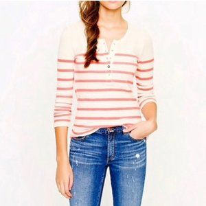 J. Crew Thermal Henley Cream & Hot Pink Stripes XL